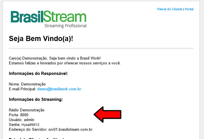 E-mails com dados do Streaming