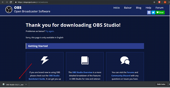 escolha o download do obs studio